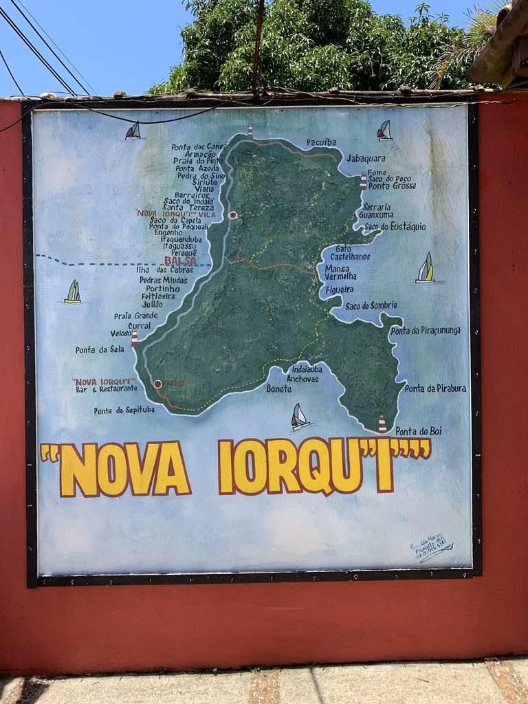 Mapa Ilhabela no Bar e Restaurante Nova Iorqu'i