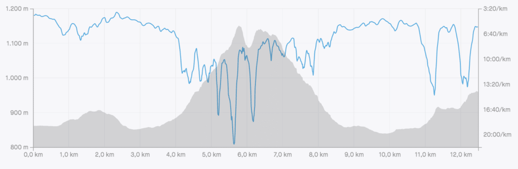 Altimetria do circuito de 12 km da Indomit