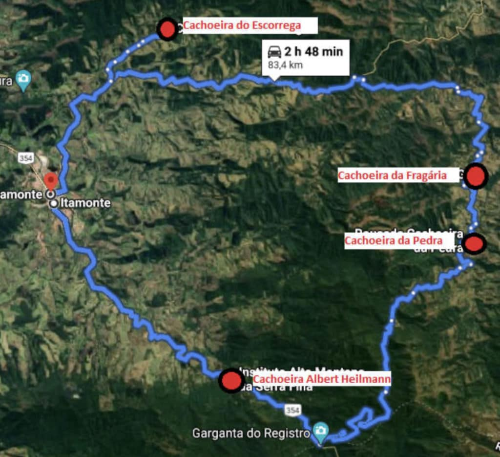 mapa mostrando o percurso para chegar nas cachoeiras.