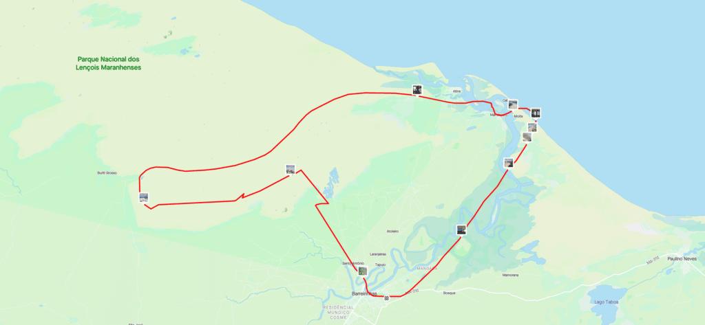 Mapa do  nosso voo no Parque Nacional dos Lençóis Maranhenses