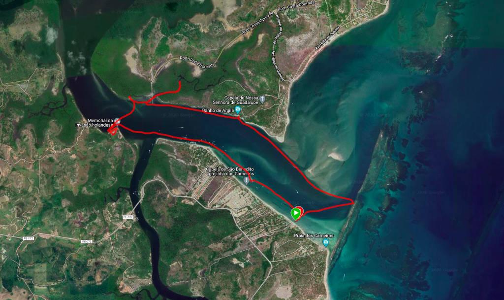 Mapa do passeio de barco pela Praia de Carneiros