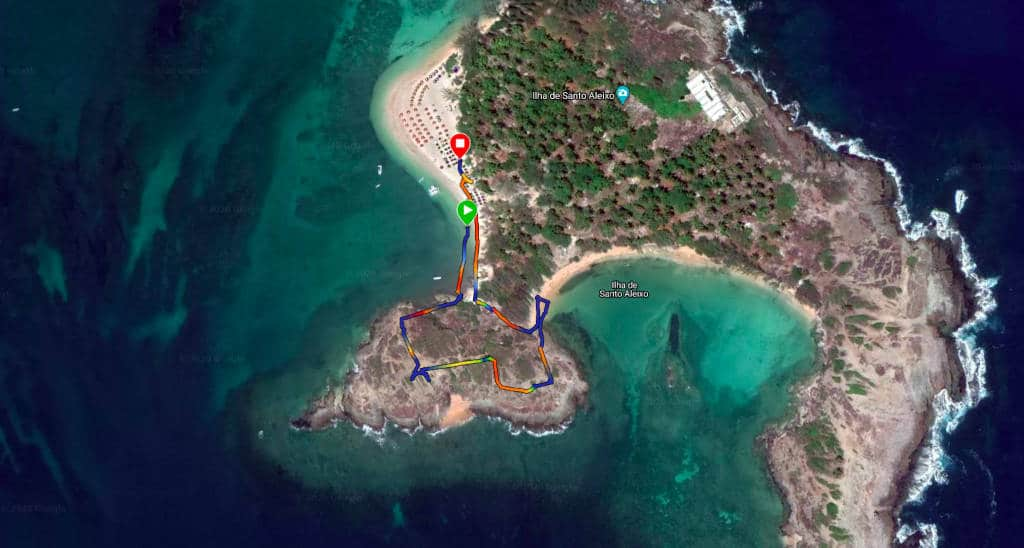 Mapa da trilha da Ilha de Santo Aleixo