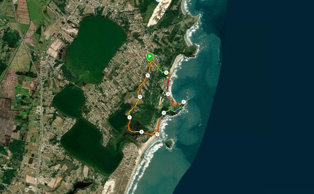 Mostrando a nossa trilha do rosa Sul até à Praia da Luz