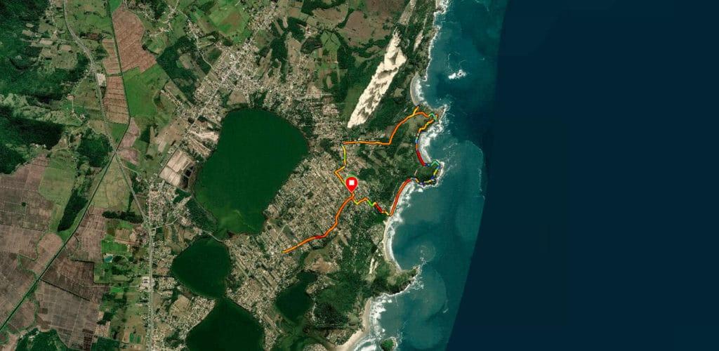 Mapa para trilha do rosa norte ate o Ouvidor mostrando o nosso percurso
