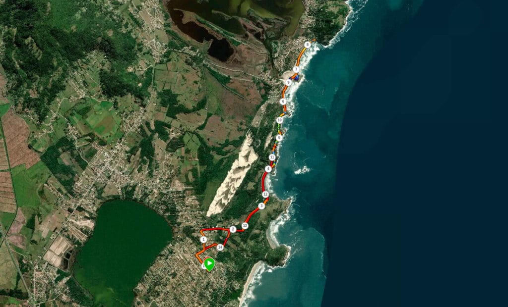 Mapa demonstrando a nossa trilha ate a Praia do Ferrugem