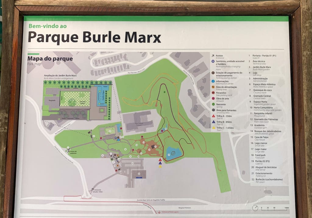 Mapa para você se localizar no parque Burle Marx