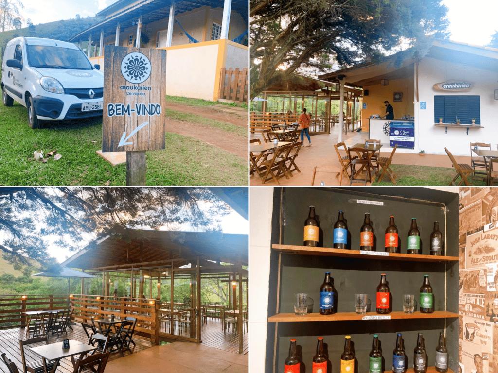 Araukarien Cervejaria e restaurante com um espaço amplo e bonito com vista para montanha