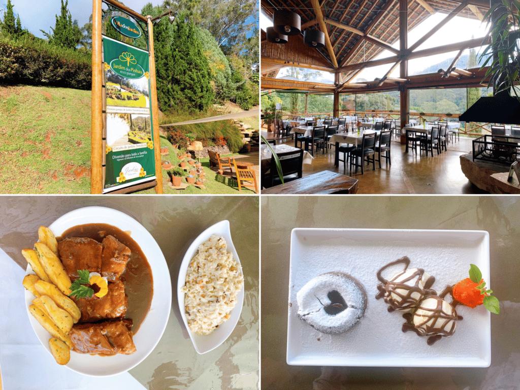 Local, comida e sobremesa do restaurante jardins sendo uma dica de uma linda paisagem em onde comer em Santo Antônio do pinhal