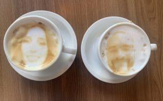 Coffee selfie capuccino