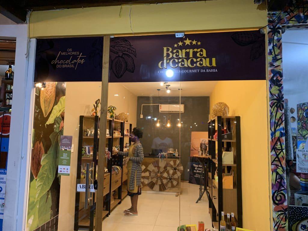 Barra d'cacau entrada loja de chocolate, em Barra Grande